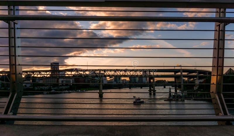 Coucher du soleil à Portland, Orégon images stock