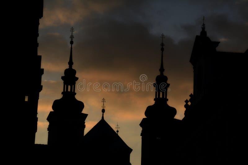 Coucher du soleil à Prague photo stock