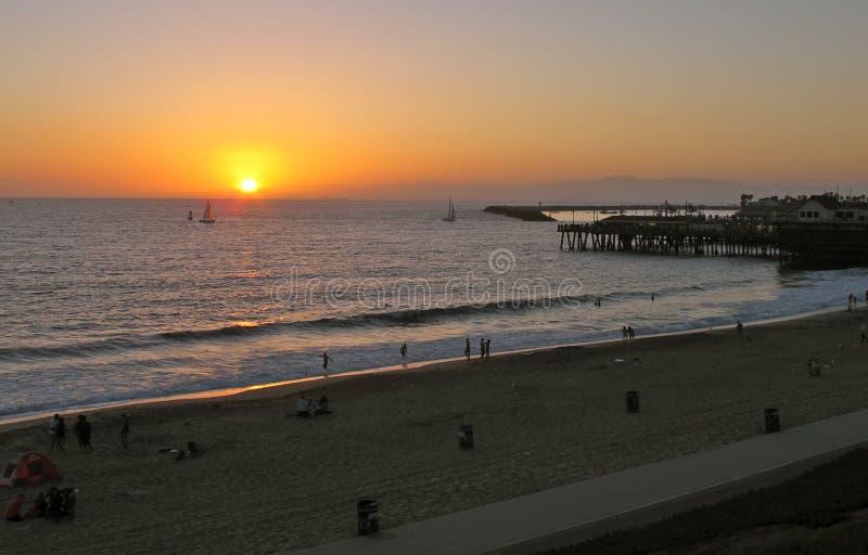 Coucher du soleil à Redondo Beach, la Californie photos stock