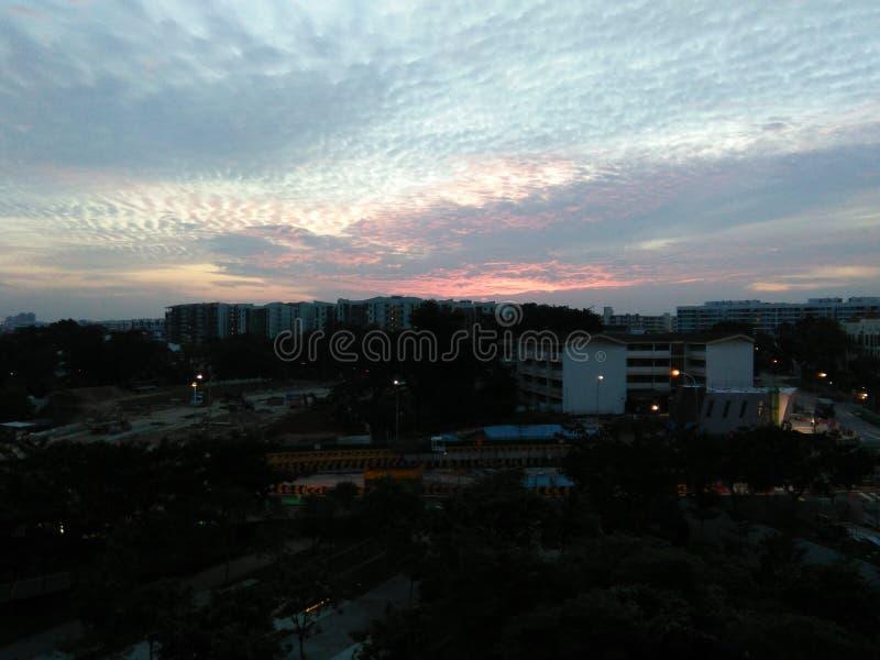 Coucher du soleil à Singapour photographie stock libre de droits