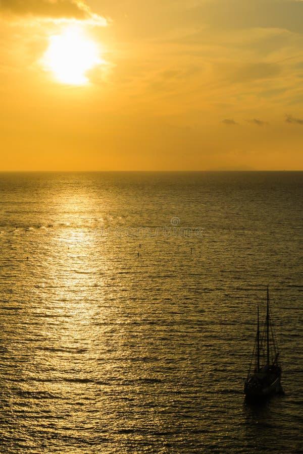 Coucher du soleil à Sorrente, Italie photographie stock libre de droits