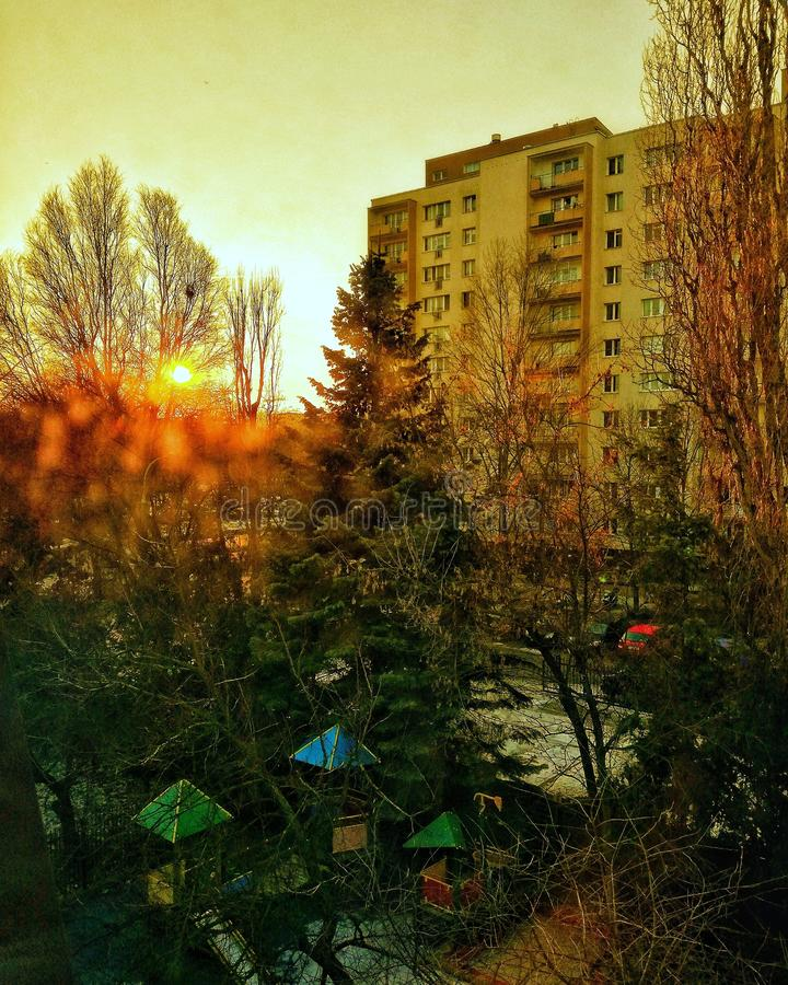 Coucher du soleil à Varsovie image libre de droits