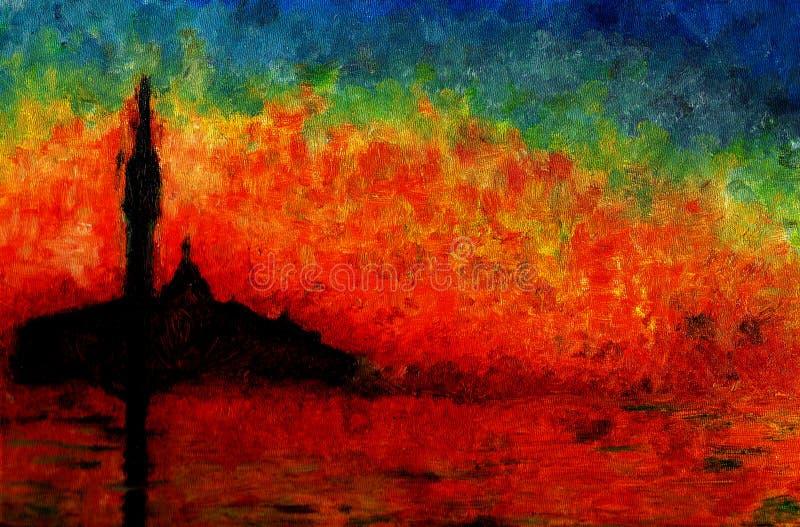 Coucher du soleil à Venise, peinture à l'huile.