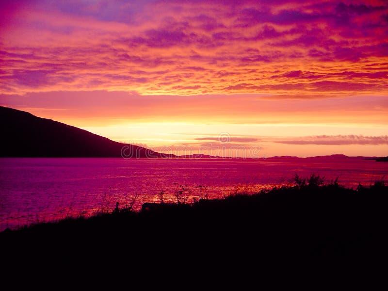 Coucher du soleil écossais image libre de droits