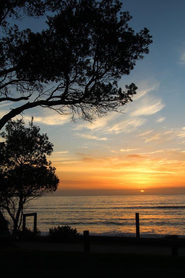 Coucher du soleil Éden, NSW photographie stock libre de droits