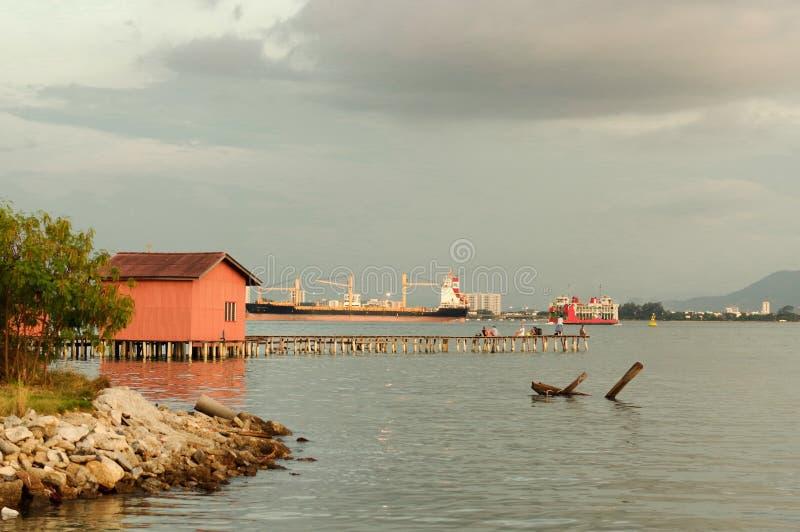 Coucher du soleil étonnant en George Town, Penang Malaisie images stock