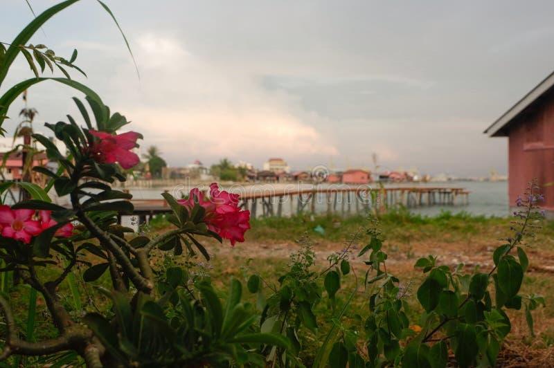 Coucher du soleil étonnant en George Town, Penang Malaisie photos stock