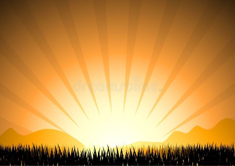 Coucher du soleil abstrait en montagne avec la silhouette d'herbe, illust de vecteur illustration libre de droits