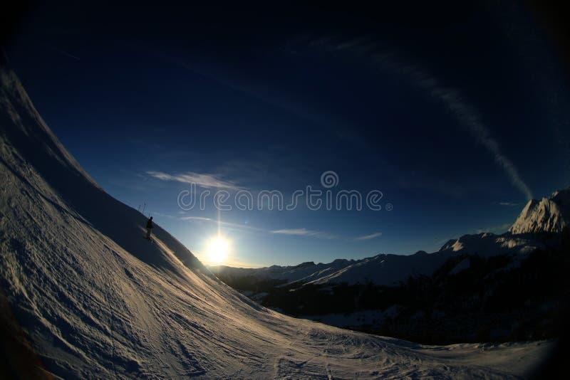 Coucher du soleil alpestre 4 images stock