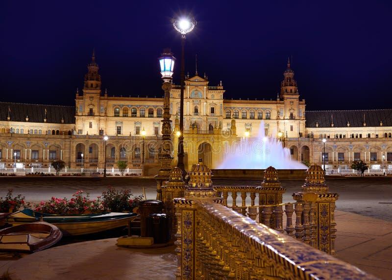 Coucher du soleil Andalousie Espagne de Séville Sevilla Plaza Espana image libre de droits
