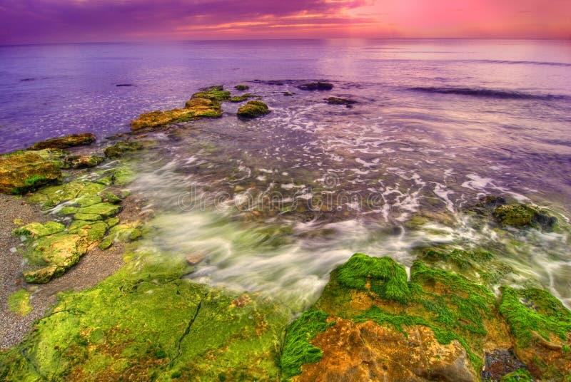 Coucher du soleil au bord de la mer image stock