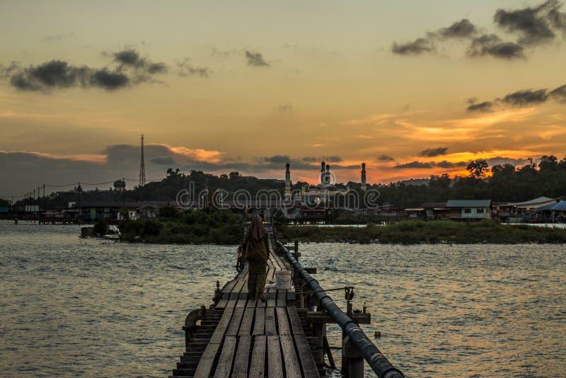 Coucher du soleil au Brunei photographie stock libre de droits