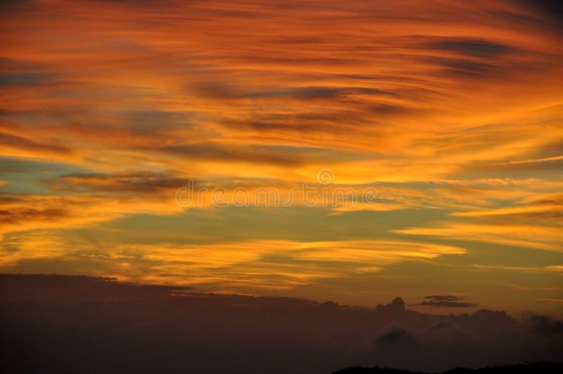 Coucher du soleil au-dessus de Cinque Terre, Italie photos libres de droits