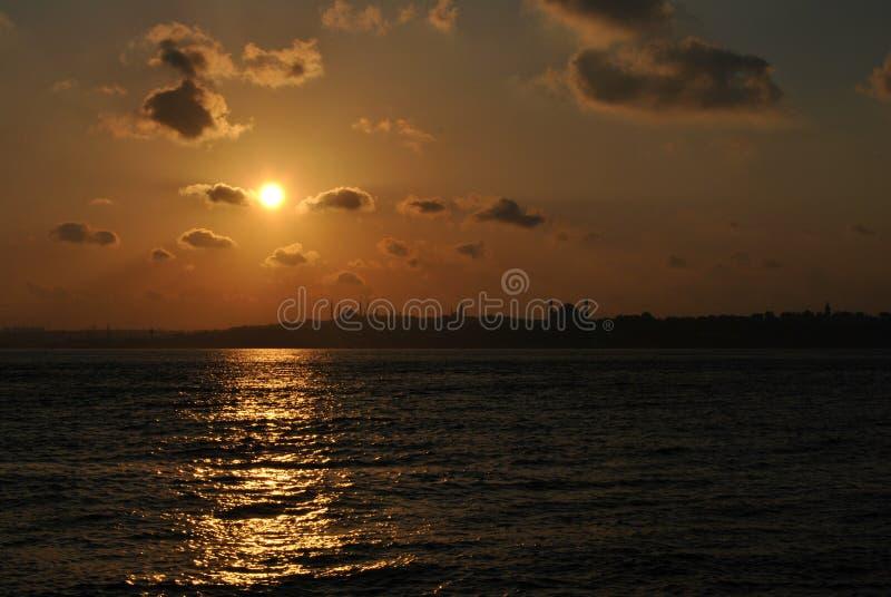 Coucher du soleil au-dessus de Constantinople antique image stock