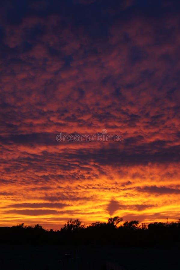 Coucher du soleil au-dessus de l'Oklahoma images libres de droits