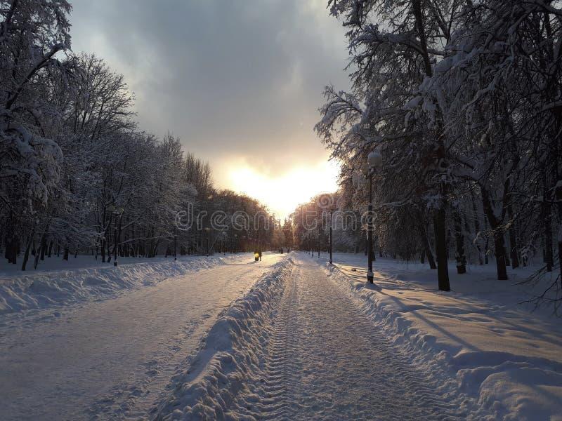 Coucher du soleil au-dessus de la route dans la ville d'hiver image libre de droits