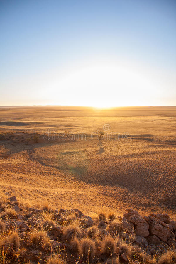 Coucher du soleil au-dessus de la savane du parc national de Namib-Naukluft, Namibie photo libre de droits