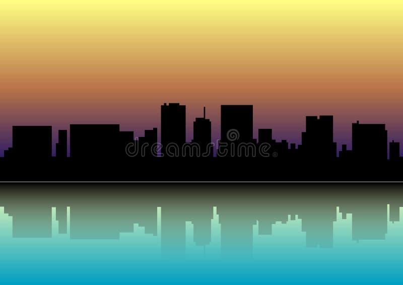 Coucher du soleil au-dessus de la ville Silhouette de la ville au coucher du soleil illustration stock