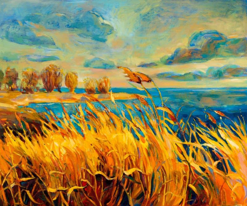 Coucher du soleil au-dessus de lac illustration libre de droits
