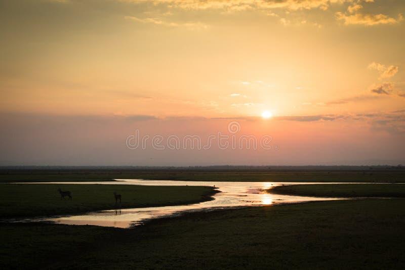 Coucher du soleil au-dessus de parc national de Gorongosa images stock
