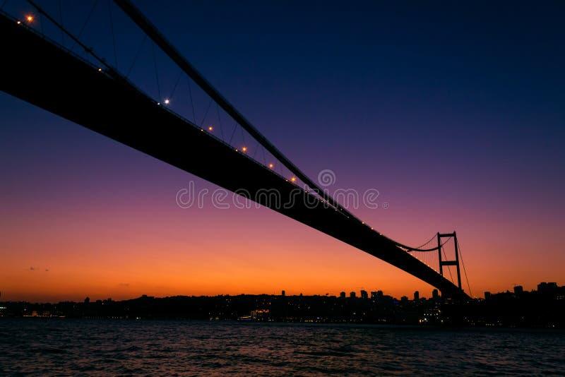 Coucher du soleil au-dessus de pont de Bosphore image libre de droits