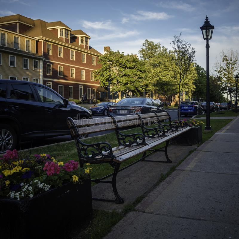 Coucher du soleil au-dessus de secteur historique national de Charlottetown, Canada image libre de droits