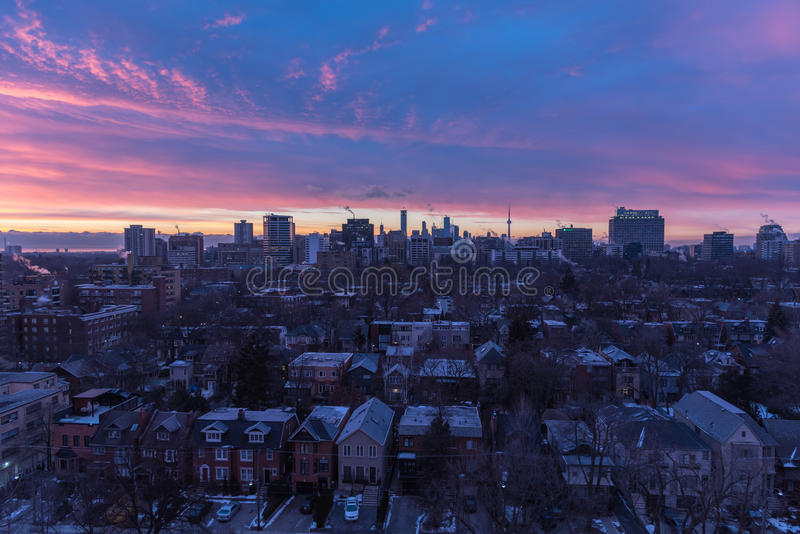 Coucher du soleil au-dessus de Toronto photographie stock