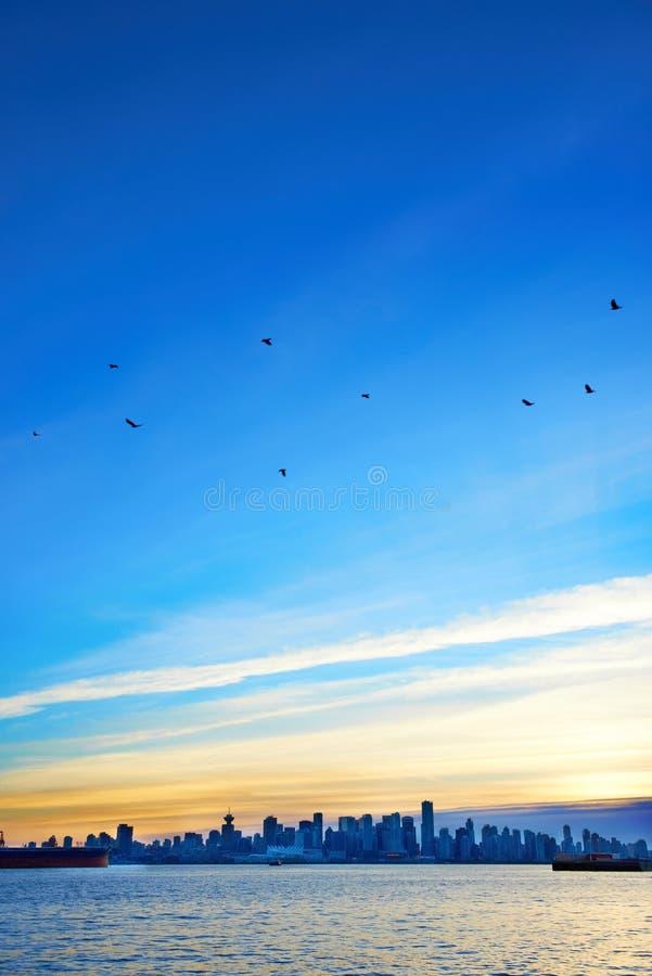Coucher du soleil au-dessus de Vancouver, Canada photographie stock libre de droits
