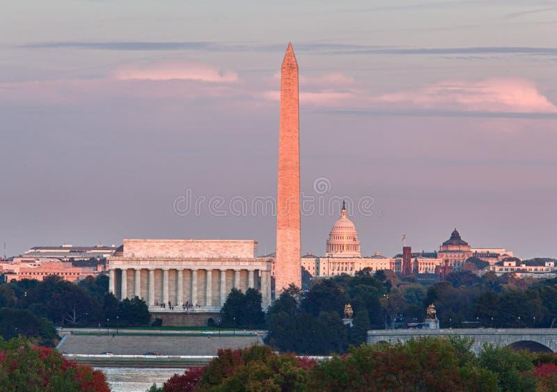 Coucher du soleil au-dessus de Washington DC image libre de droits