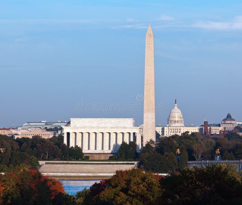 Coucher du soleil au-dessus de Washington DC photo stock