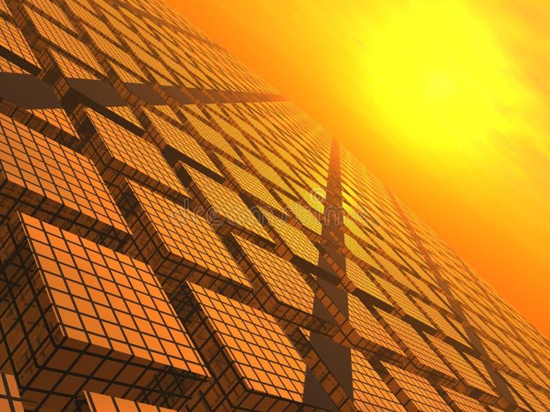 Coucher du soleil au-dessus des blocs de réseau illustration stock