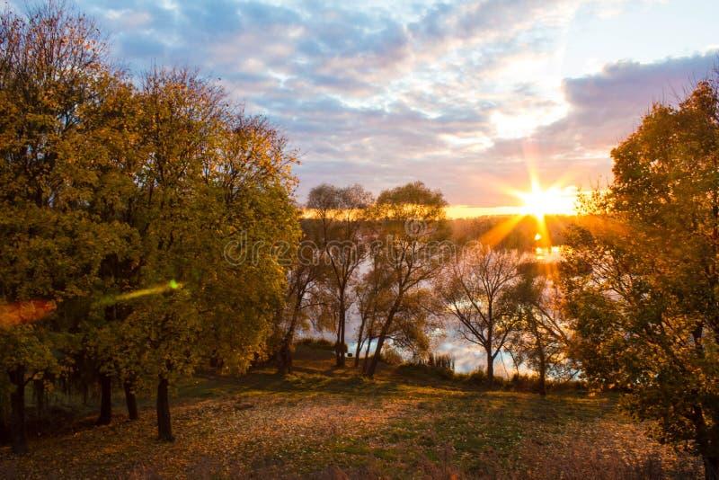 Coucher du soleil au-dessus du lac et du parc photo stock