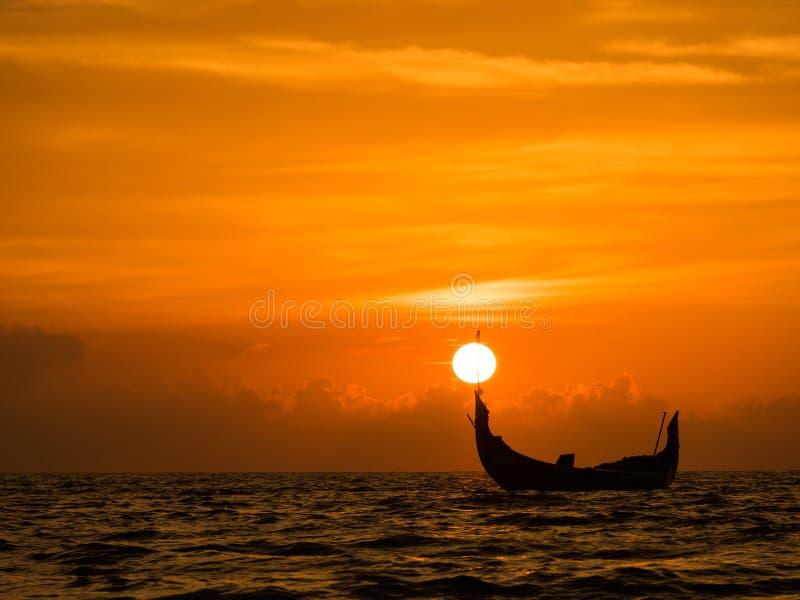 Coucher du soleil au Kerala photographie stock