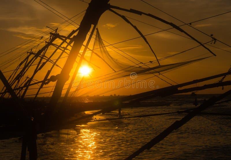 Coucher du soleil au Kerala image libre de droits