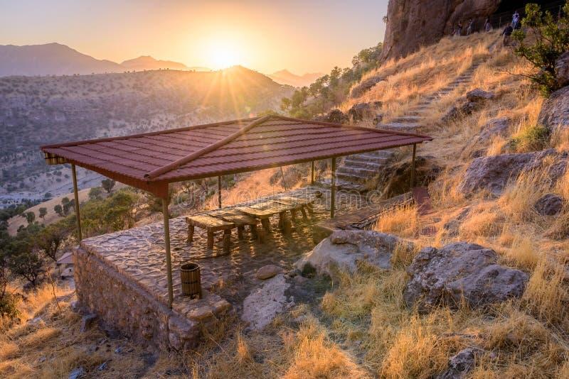 Coucher du soleil au Kurdistan Irak photo stock