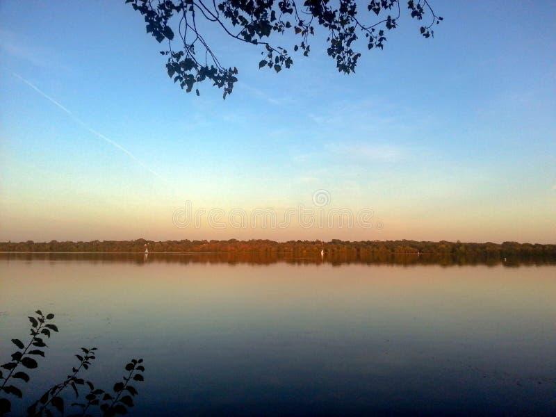 Coucher du soleil au lac Harriet photo stock