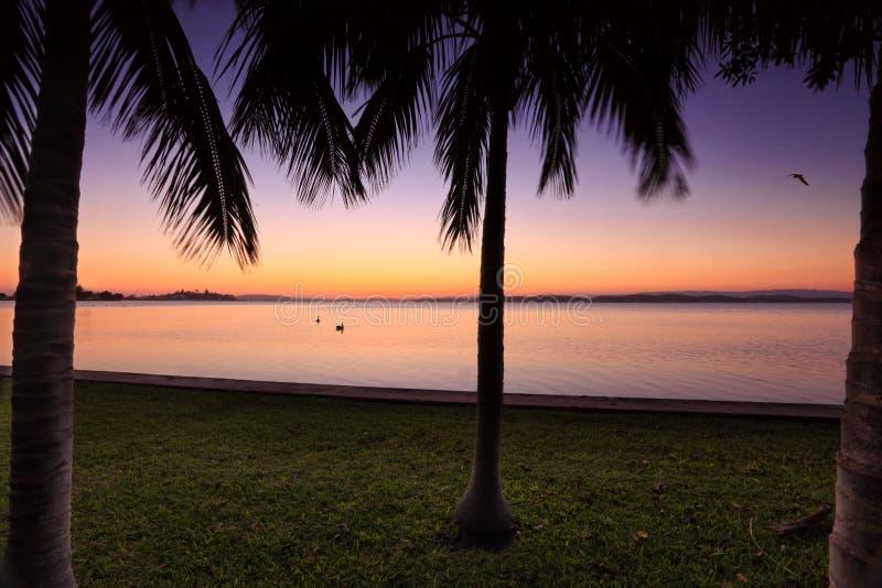 Coucher du soleil au lac Macquarie, Australie de NSW photographie stock libre de droits