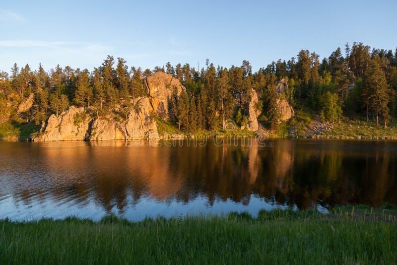 Coucher du soleil au lac stockade photographie stock libre de droits