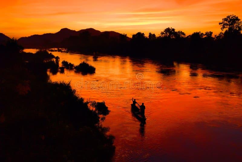 Coucher du soleil au Laos photo libre de droits