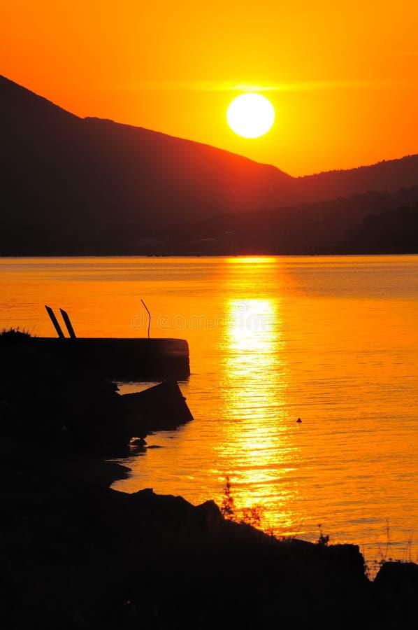 Coucher du soleil au Monténégro no.5 image libre de droits