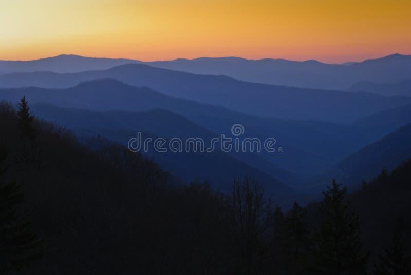 Coucher du soleil au parc national de Great Smoky Mountains photo stock