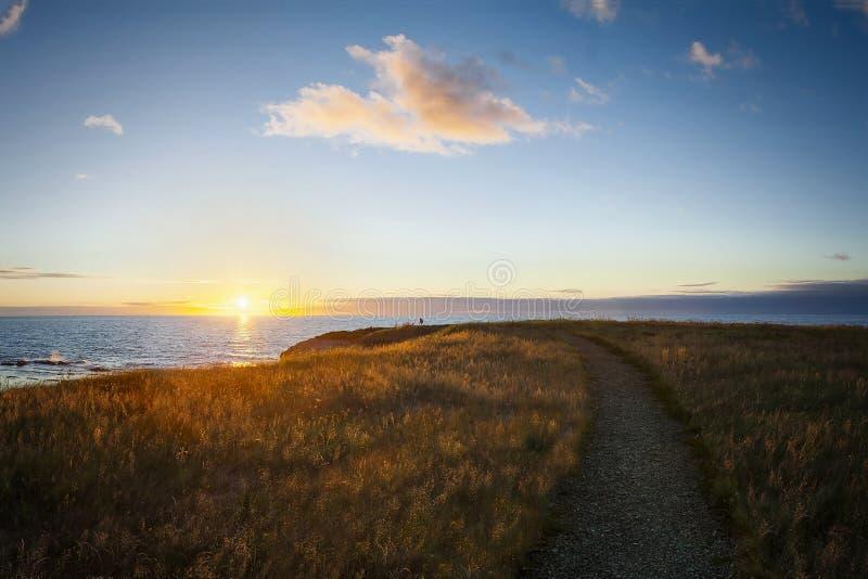 Coucher du soleil au point vert, Gros Morne National Park image libre de droits