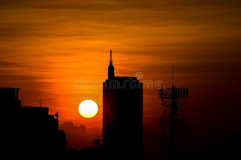 Coucher du soleil au secteur du centre, Bangkok Thaïlande photo stock