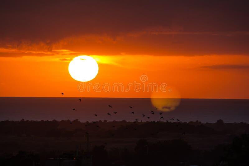 Coucher du soleil au Trinidad, Cuba photo stock