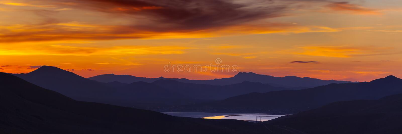 Coucher du soleil aux ressorts froids, Nevada photo libre de droits