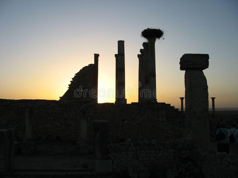 Coucher du soleil aux ruines photos libres de droits