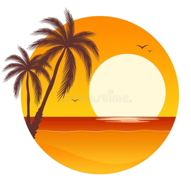 Coucher du soleil avec des palmiers illustration libre de droits