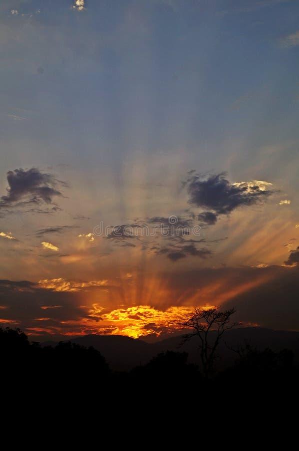 Coucher du soleil avec des rayons image stock