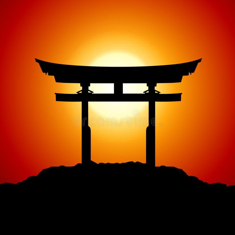 Coucher du soleil avec la porte du Japon illustration stock