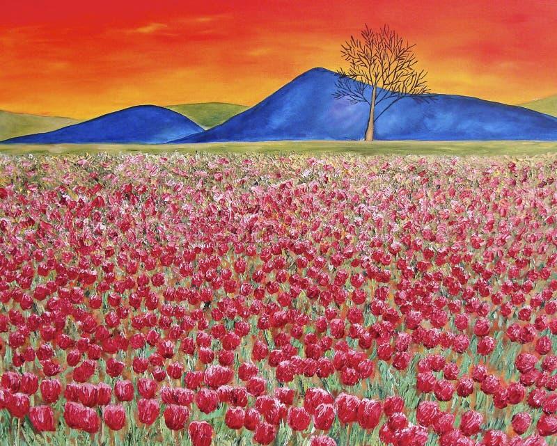 Coucher du soleil avec la zone rouge de tulipe. Peinture à l'huile. Art images libres de droits